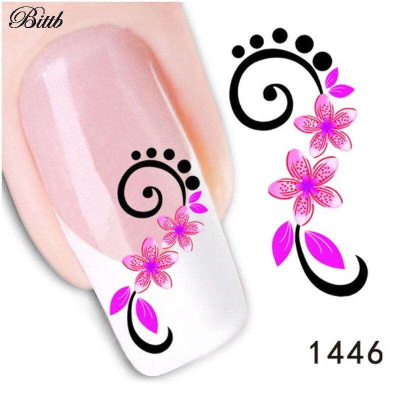 Bittb Nail Decals 5 Petal Magenta Flower Fingernail Beauty Make Up ...