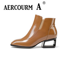Aercourm A Women Boots Winter Cowhide Short Plush Warm Boots High Quality Genuine Leather Ankle Boots Square Toe Black Shoes 944