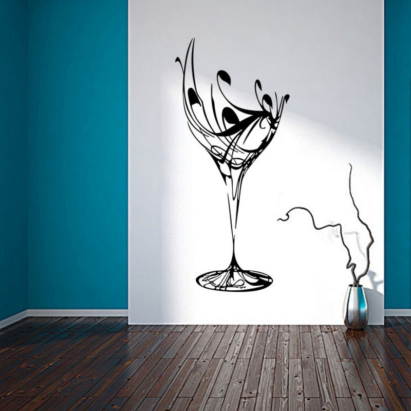 Wine Cups Kitchen Home Decals Wall Stickers Creative Dining Room Food Desk Background Decorative Mural