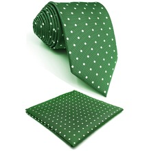 E21 Green Dots Ties for Men Neckties Classic Silk Slim Skinny Long
