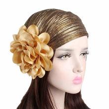Muslim Women Hijabs Hair Accessories for Women Headband Elastic Turban Cap  Cotton Flower Kerchief Headbands Hat ff659bb28bb