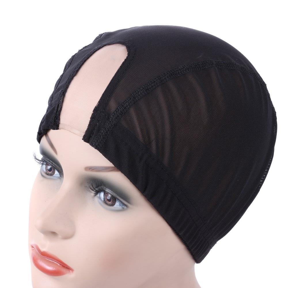 "1.5""x3"" U Part Wig Cap Swiss Lace Wig Cap Black With Elastic For Making Wigs Mesh Hairnets Weaving Cap Adjustable Wig Cap 1pcs"