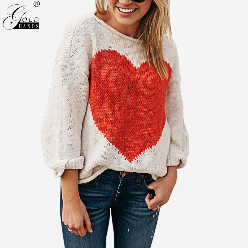 Gold Hands Women Fashion Streetwear Love Knitted Loose Pullover Sweater O-neck Long Sleeves Cotton Sweater Free Shipping