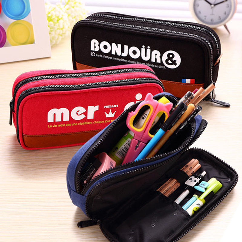 New Large Pencil case for School Girls Boys multifunction pencil box canvas pouch Offices School Supplies Stationery Gift sosw fashion anime theme death note cosplay notebook new school large writing journal 20 5cm 14 5cm