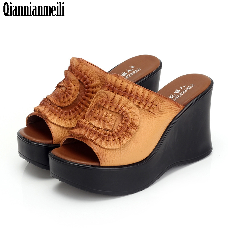 Aliexpress.com : Buy 2017 Genuine Leather Women Sandals Shoes Woman Summer Wedge Sandals Women