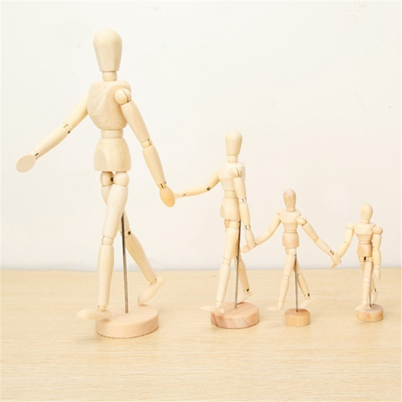 Brand New Wooden Jointed Doll Man Artist Figures Model Painting Sketch Cartoon Blockhead Jointed Model Puppet 4 Sizes in Action Toy Figures from Toys Hobbies