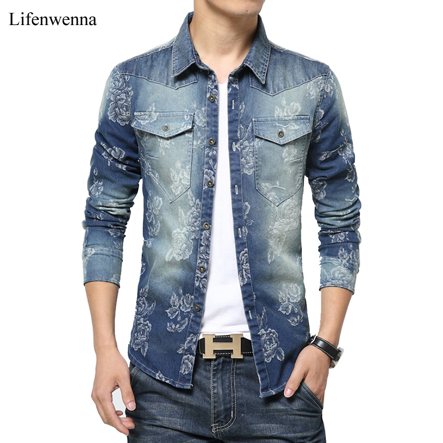 7a6c1591ab2 2017 New Fashion Brand Men Floral Jeans Shirt Slim Fit Long Sleeve Double  Pocket Denim Shirt Mens Casual Social Denim Shirts 5XL
