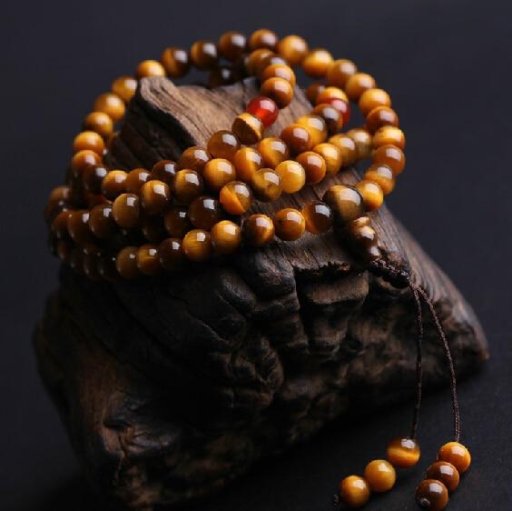 Тибетский мала высший сорт тигровый глаз камень четки бусины буддийский 108 молитва бусины мала благословенный мала