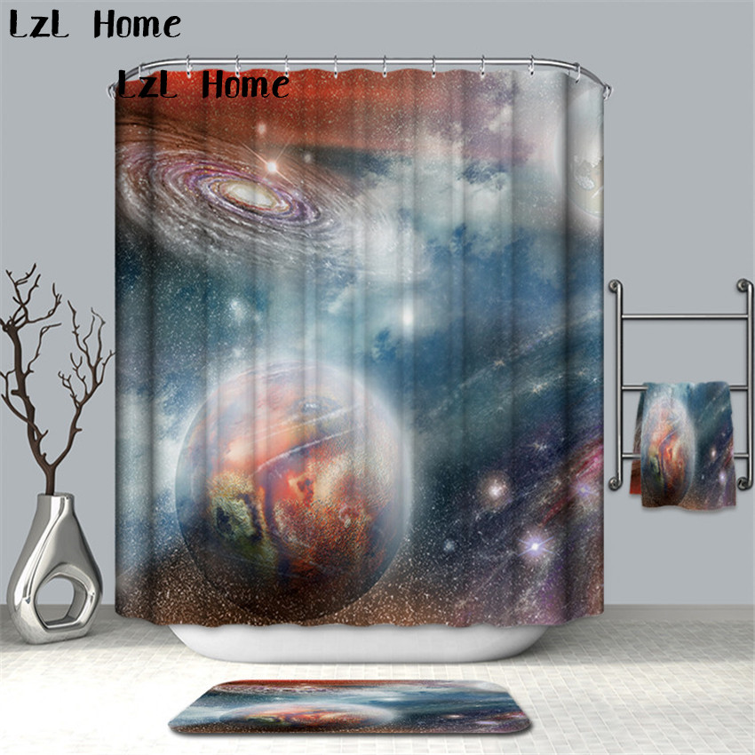 LzL Home 3D Creative Mystery Universe Space Shower Curtain Polyester Waterproof Mildew Resistant Bathroom Curtains Home Decor