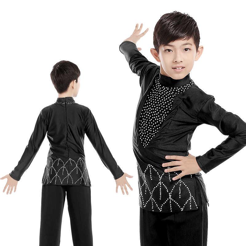 c99790713df2 Male Latin Dance Shirts Men Black Shiny Diamond Ballroom Costume Top Boy  Competition Dancewear Rumba/
