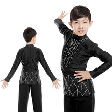 Male Latin Dance Shirts Men Black Shiny Diamond Ballroom Costume Top Boy Competition Dancewear Rumba/Samba/Cha Cha Shirt