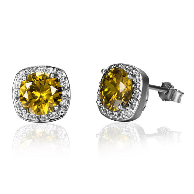 Ruby Citrine Emerald 3 Colors Stud Earrings Women's Earring 925 Sterling Silver Jewelry Party Anniversary Wedding Birthday Gifts