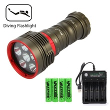 цена на 6 LED lamp 3000 lumens Diving flashlight underwater 100m white light flashlight +18650 battery + charger for outdoor diving