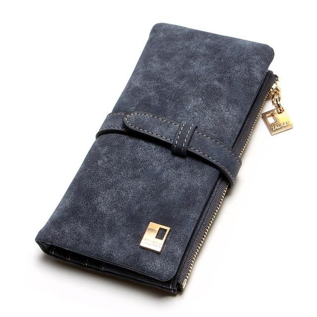 Теперь еще дешевле! Новые модные женские кошельки, кошелек из нубука на молнии, Женский Длинный дизайнерский кошелек, два сложения, много цветов, клатч - Цвет: Dark blue
