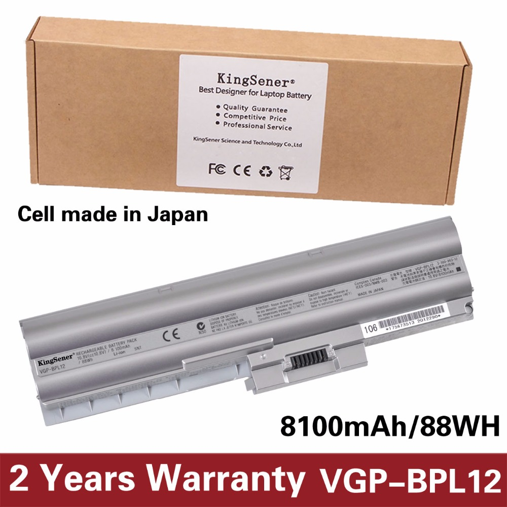 KingSener Japanese Cell New Laptop Battery for SONY Vaio S VGN-Z15N VGN-Z17N VGN-Z25 VGN-Z37D VGP-BPL12 VGP-BPS12 9CELL 8100mAh