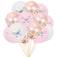 15pcs Rose gold Sequins balloons Color print Unicorn sequins balloon suit for baby birthday party decoration