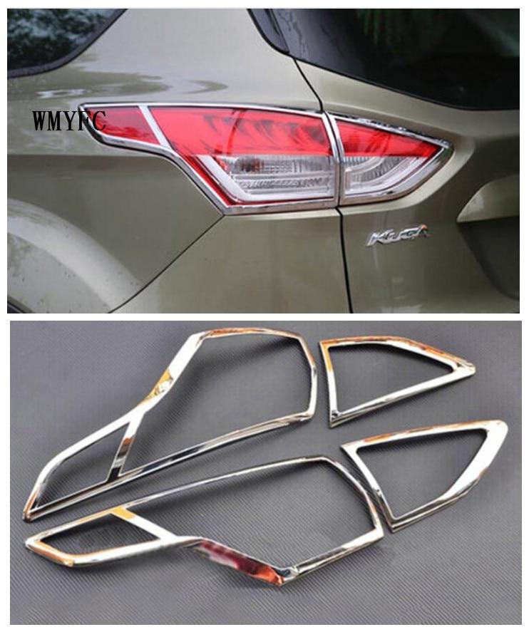 Para Ford Kuga Fuga 2013 2014 2015 ABS Chrome Rear Farol Lâmpada Lanterna Traseira Tampa da lâmpada Guarnição Guarnições de Cobertura Estilo Do Carro Guarnição 4 Pcs