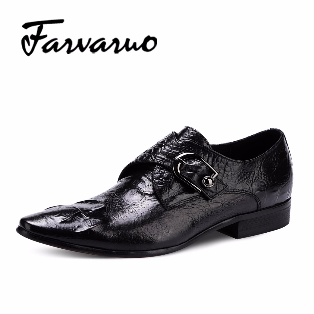 Farvarwo Men Dress Shoes Fashion Casual Business Shoes Black Genuine Leather Italian Luxury Brand Pointed Toe Flats Oxford Metal brand designer caving men flats outer soles metallic toe leather shoes fashion pointed toe oxford ancient style men shoes