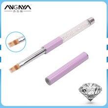 10PCS/Lot ANGNYA Clear Rhinestone Acrylic Handle Flat Nylon Hair Ombre Brush Professional UV Gel Nail Art Brush With Purple Cap