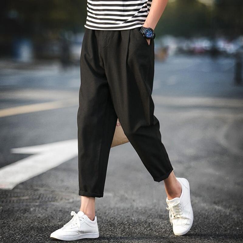 LFF 2018 Men Fashion Summer Fake Linen Ankle-length Pants Male Plus Size Loose Casual Korean Style Harem Pants Pencil Trousers