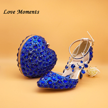 Love Moments New Royal Blue Rhinestone Wedding shoes and heart bags for woman shoes Crsyal Party dress shoes Bride Ankle strap 2018 latest italian african women party shoes and bag sets with stones pumps royal blue matching shoes and clutch bags for lady