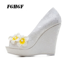 New wedges and little yellow wedding shoes  Yuzui banquet sexy elegant Heel height: 11 cm 34-43