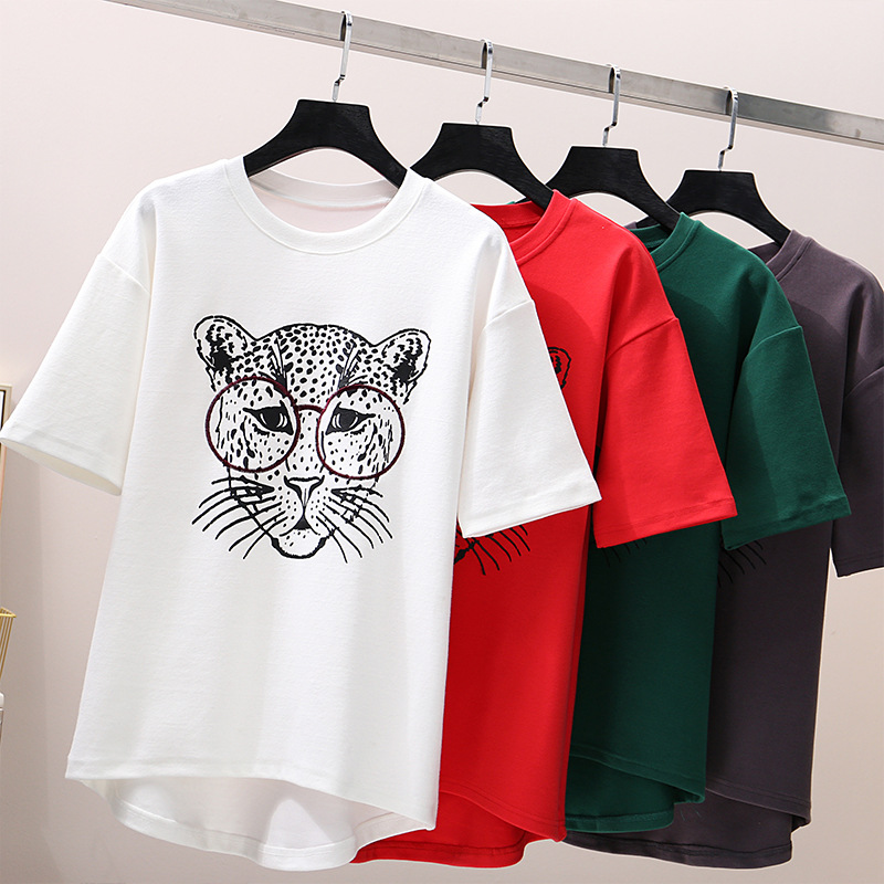 irregular funny cartoon embroidery graphic tees women t shirt with print summer 2019 korean style top female couple tops in T Shirts from Women 39 s Clothing