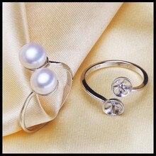 Klasik Yüzükler Resizable Tasarım Yüzük Bankası 925 Gümüş Inci Yüzük Ayarları Kadınlar DIY Inci Yüzük Aksesuarı No Inci
