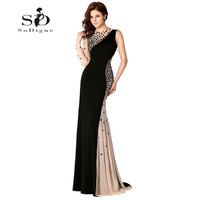 Long Gown Black Evening Dresses Mermaid Dress One shoulder Rhinestones Evening Gowns Elegant 2018 Sexy Beaded Contrast Color
