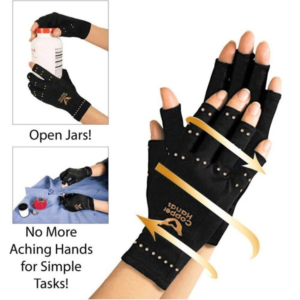 Gloves Copper-Fiber-Gloves Therapy-Compression Half-Finger Blood-Circulation Anti-Arthritis