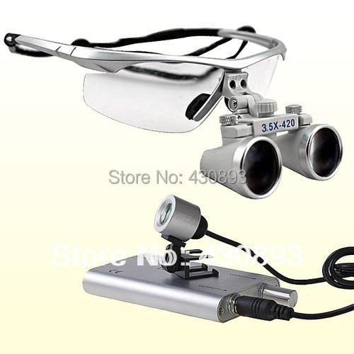 ФОТО 3.5x Dental Surgical Binocular Loupes + LED Dental Head Light lamp