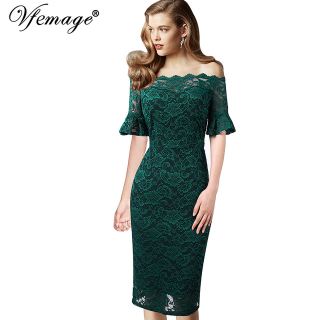 Vfemage Women Elegant Flare Trumpet Bell Sleeve Lace Vintage Pinup Casual Work Office Party Bodycon Sheath Dress 9307