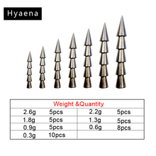 Hyaena 43pcs 100% Tungsten Nail Pagoda Fishing Sinker Small Thin Worm Weights Sinkers Insert Into Soft Lures Set With Box