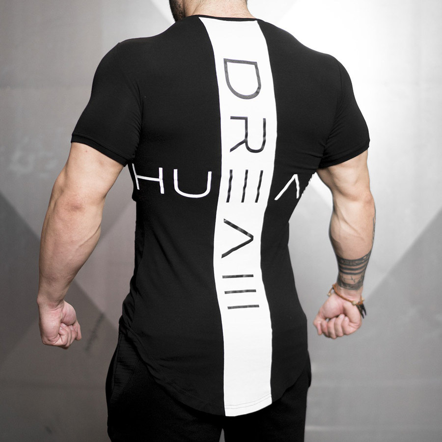 2019 New Men Skinny T-shirt Gyms Fitness Bodybuilding Workout T Shirt Male Printed Tee Tops Summer Fashion Casual Brand Clothing