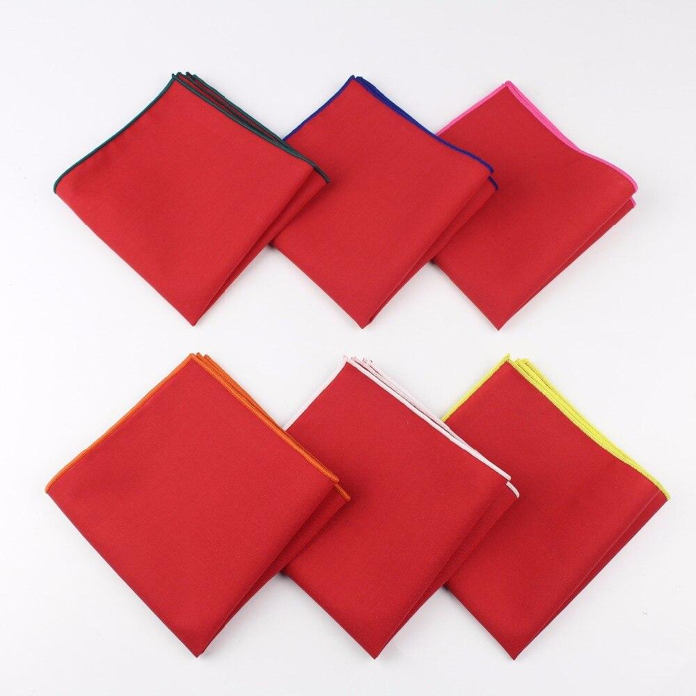 Men's Sunny Style Cotton Handkerchief Red Pocket Square Colorful Edge Hankies Towel Casual 23*23cm