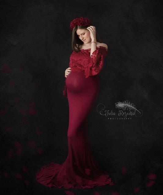 Del Merletto di fantasia Top Maternità Fotografia Puntelli Abiti Per Le Donne Incinte Vestiti Maternità Abiti Per Il Servizio Fotografico Wq14 Gravidanza Vestito