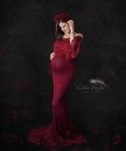 Elegante Top de encaje accesorios de fotografía de maternidad vestidos para mujeres embarazadas ropa vestidos de maternidad para sesión de fotos vestido de embarazo