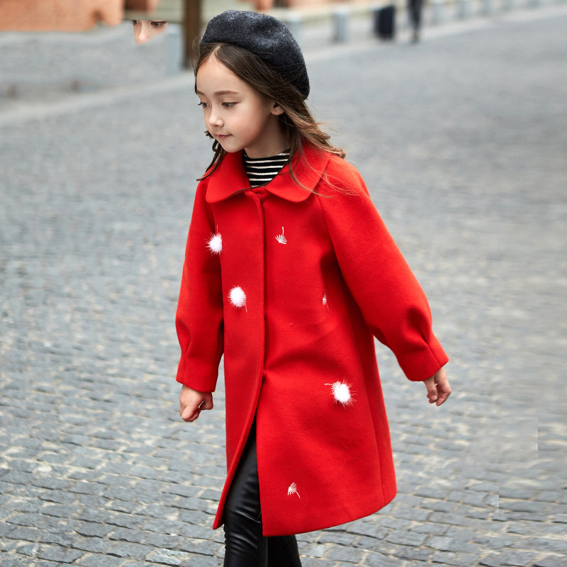 2017 Winter Girls Woolen Coat Christmas Jacket Windbreaker Red Little White Furry Ball Navidad for Age456789 10 11 12T Years Old 2017 winter coat grandma installed in the elderly women 60 70 80 years old down jacket old lady tang suit