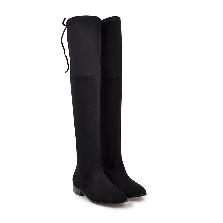 цены  New Women Stretch Boots Over Knee Boots Flat Lace Up Suede Leather Thigh High Boots Autumn Winter Shoes botas bootie size 34-43