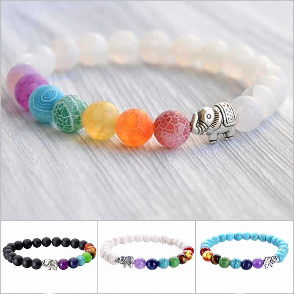 Fashion Elephant Colorful Yoga Energy Healing Crystal Beads Bracelet Natural Jewelry Gift Accessories #251667