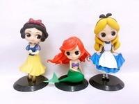 3pcs/lot princess figure toys Cartoon Cute Q Posket Snow white princess Alice in Wonderland Ariel The Little Mermaid pVC Figu