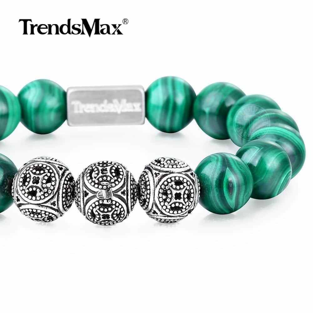 A Malachite Beaded Bracelet Women Men Natural Stone Stretch 925 Sterling Silver Beads Heal Release Jewelry Gift 10/12MM TBB00503