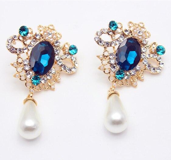 2017 Fashion Pea Pearl Earrings Drop Earring Crystal Gem Vintage For