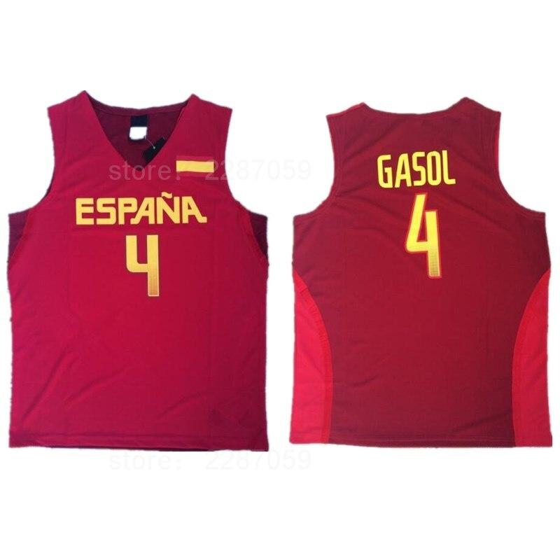 Ediwallen Spain Basketball Jerseys 2016 Team Red White 4 Pau Gasol Jersey Men For Sport Fans Factory Directly Wholesales