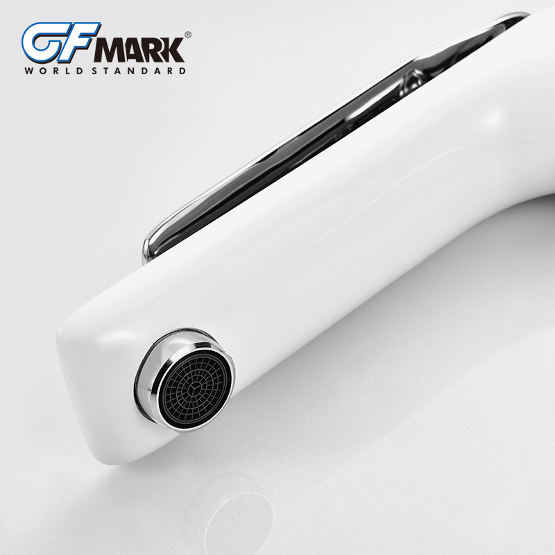 GFmark Bathroom Faucet High Quality Brass Basin Sink Water Taps Modern Design White Sink Mixer Tap High Bath Faucet Mixer in Basin Faucets from Home Improvement
