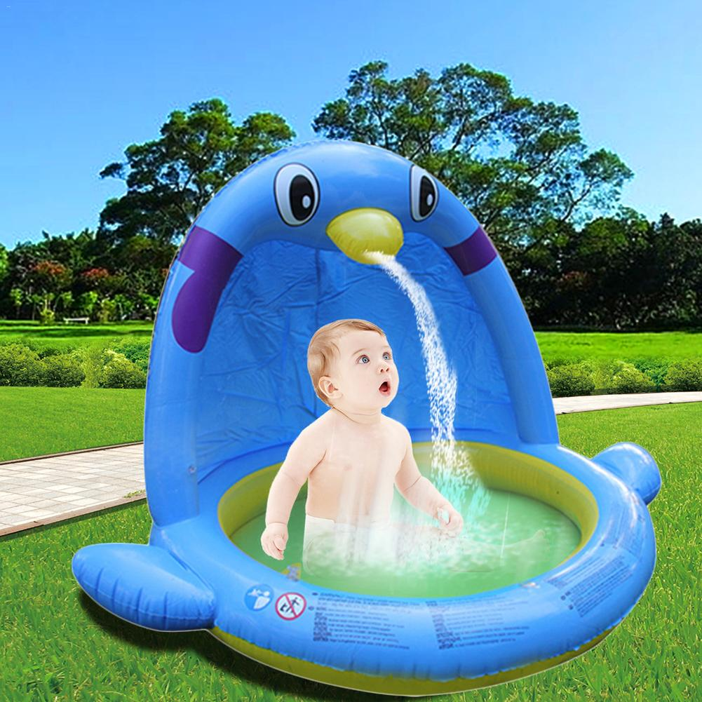 Large Size Large Water Spray Game Mat Indoor Swimming Pool Penguin Shape Inflatable Paddling Pool For Kids