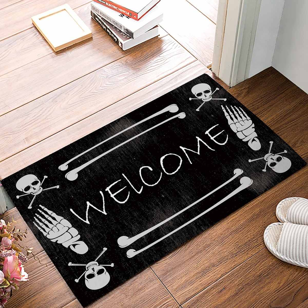 Skeleton Skull Welcome Door Mats Kitchen Floor Bath Entrance Rug Mat Absorbent Indoor Bathroom Rubber Non Slip