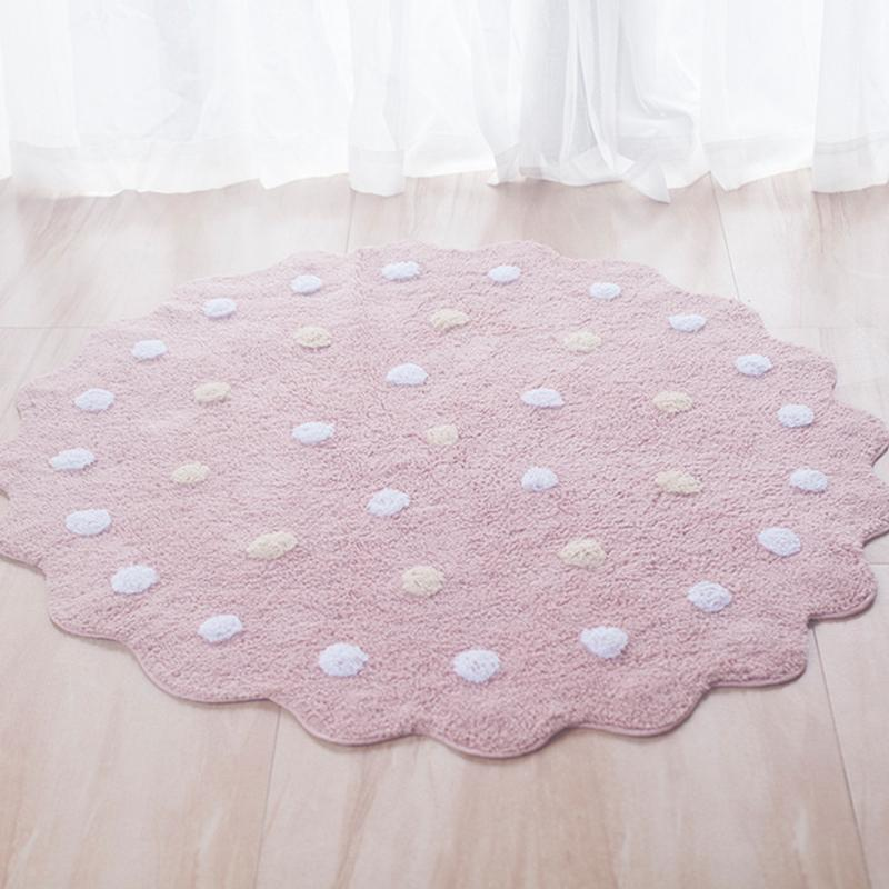 Cotton Baby Play Mat Round Carpet Plush Tent Mat Children Antiskid Baby Crawling Mat 120cm conch beach 3pcs antiskid flannel toilet mat set