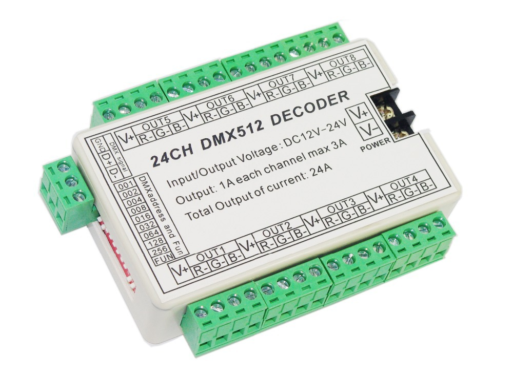 Free Shipping 24ch Dmx512 Decoder,24 Channel Dmx Drive, Dc5v-24, 8 Group Rgb Output For Led Strip Light,rgb Dump Node, Module 50w 48 led rgb light module 8 series and 6 in parallel