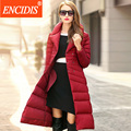 Mulheres Para Baixo Casaco de Inverno 2016 Nova Marca High-end Jaquetas Senhoras Jaqueta Dupla Breasted Cinto Pão Colar Feminino Longo casacos Y146